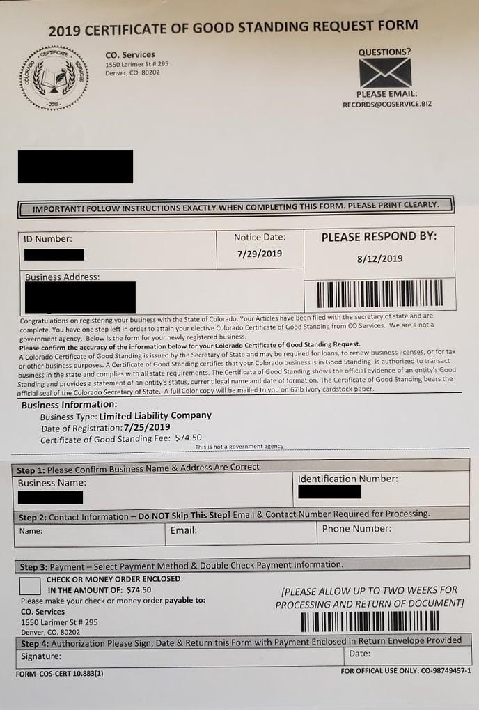 Good Standing Fraud Letter
